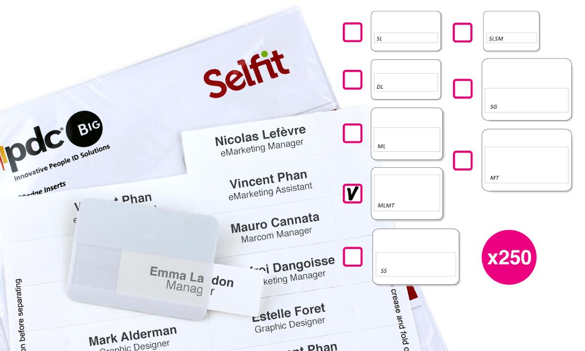 Inserto Selfit multilinea, 75 x 24 mm, Bianco, 250 Inserti