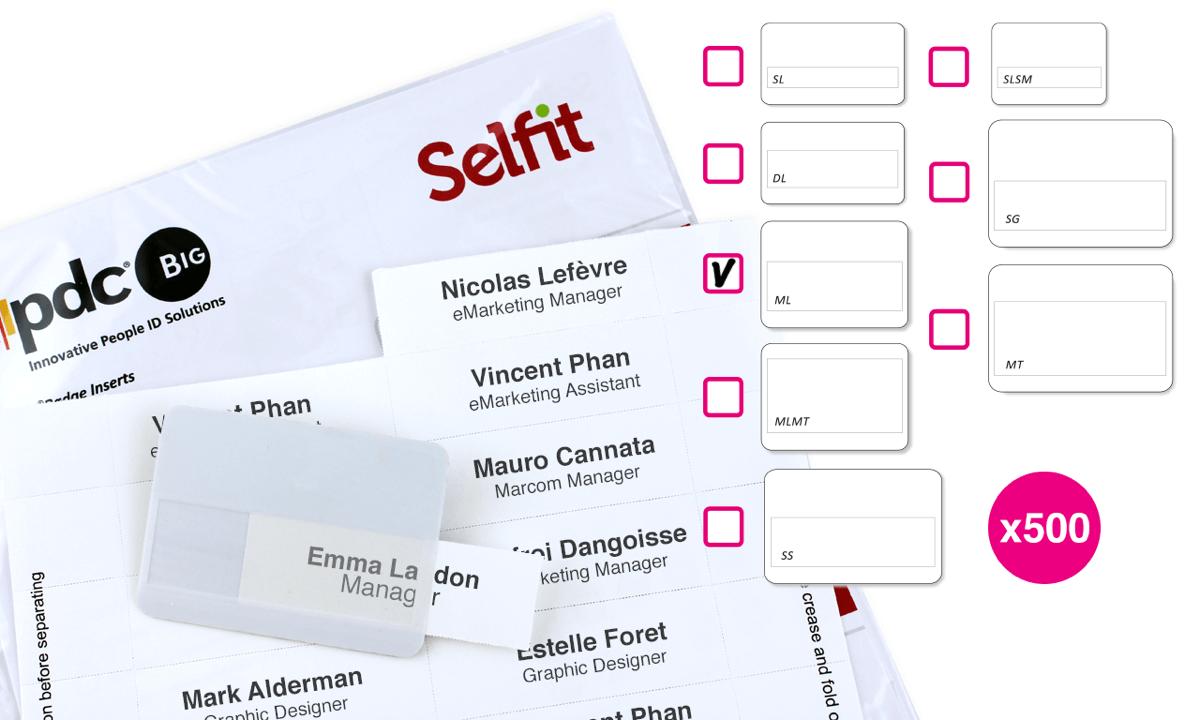 Inserto Selfit multilinea, 75 x 24 mm, Bianco, 500 Inserti