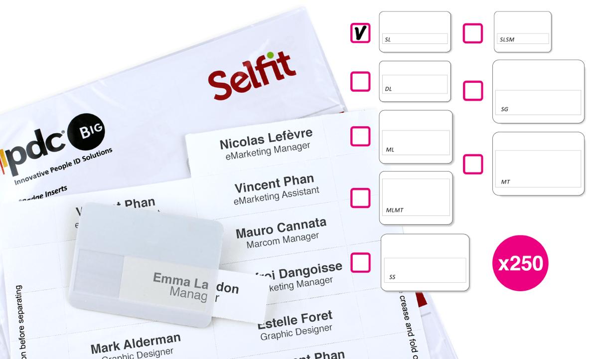 Inserto Selfit una linea, 70 x 12 mm, Bianco, 250 Inserti