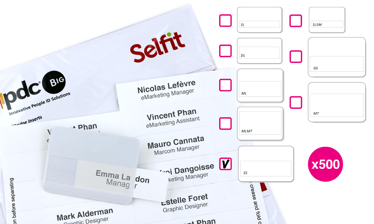 Inserto Selfit multilinea, 86 x 24 mm, Bianco, 500 Inserti