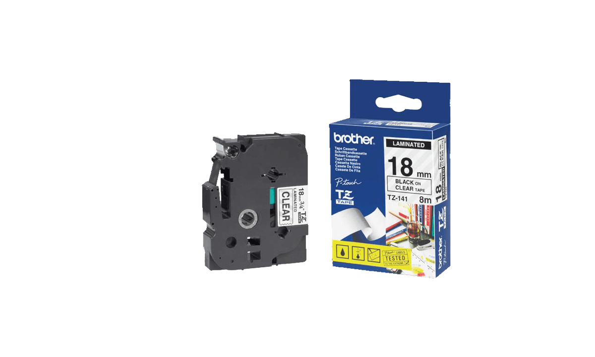 Nastri Brother P-touch, 18 mm, Nero su nastro trasparente