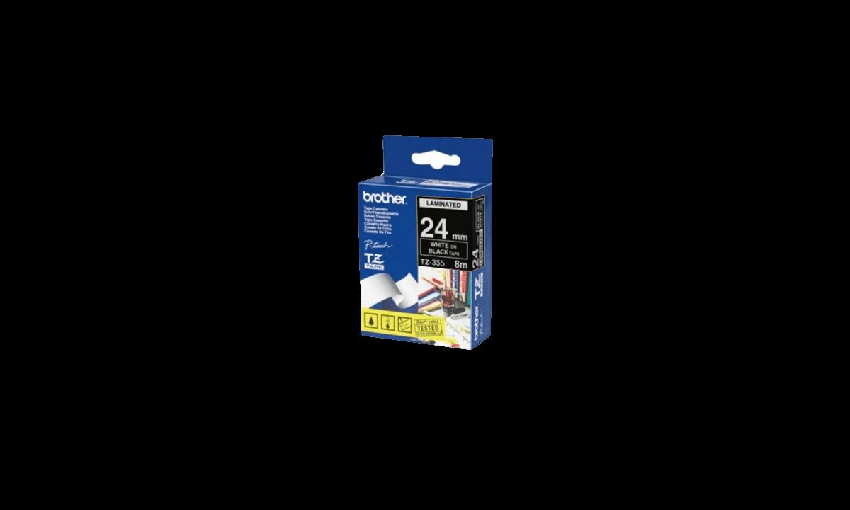 Nastri Brother P-touch, 24 mm, Bianco su nastro nero
