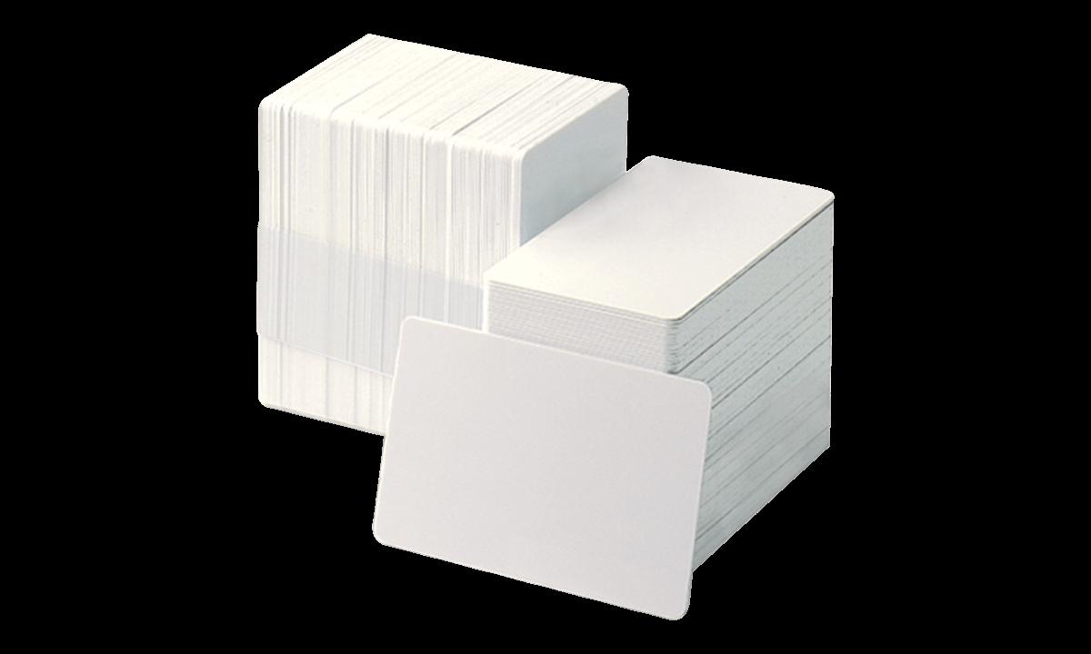 Tessera non personalizzata in PVC bianco con parte adesiva sul retro e liner protettivo di carta - 250 mic