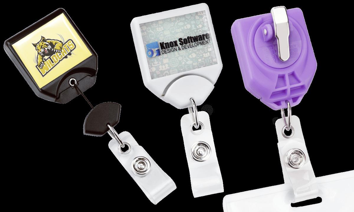 Portabadge avvolgibile personalizzabile con sistema anti-attorgliamento B-Reel e clip rotante dentata