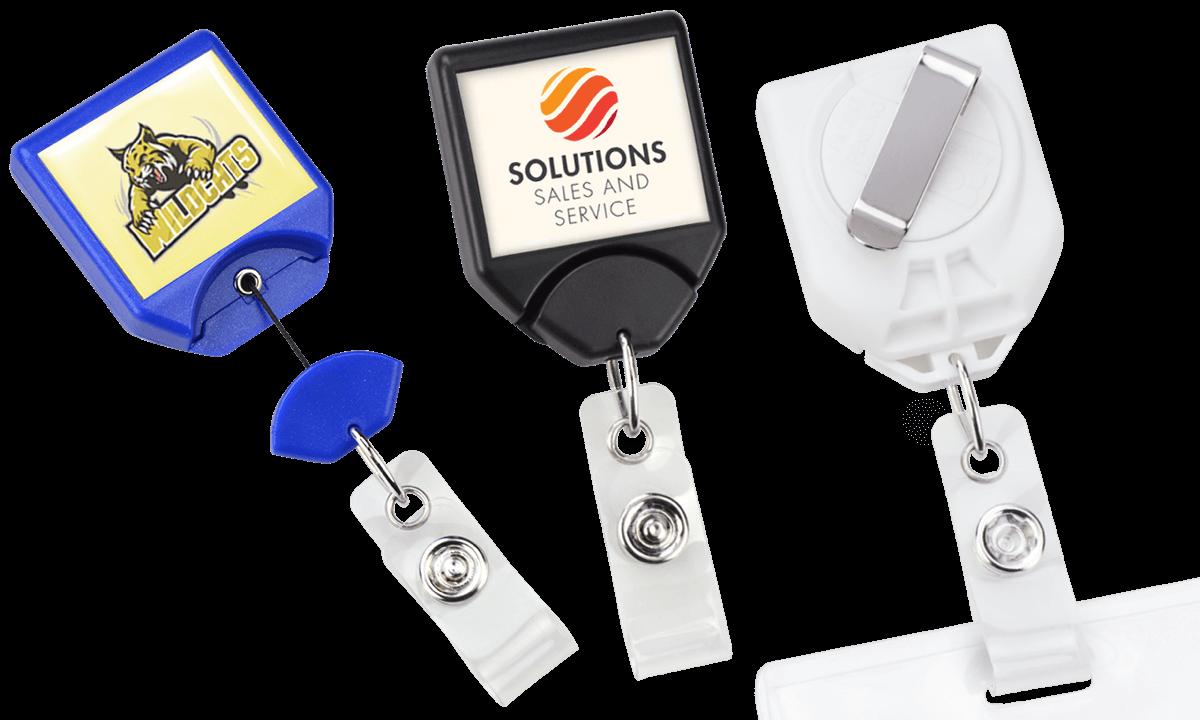 Portabadge avvolgibile personalizzabile con sistema anti-attorgliamento B-Reel e clip per cintura rotante
