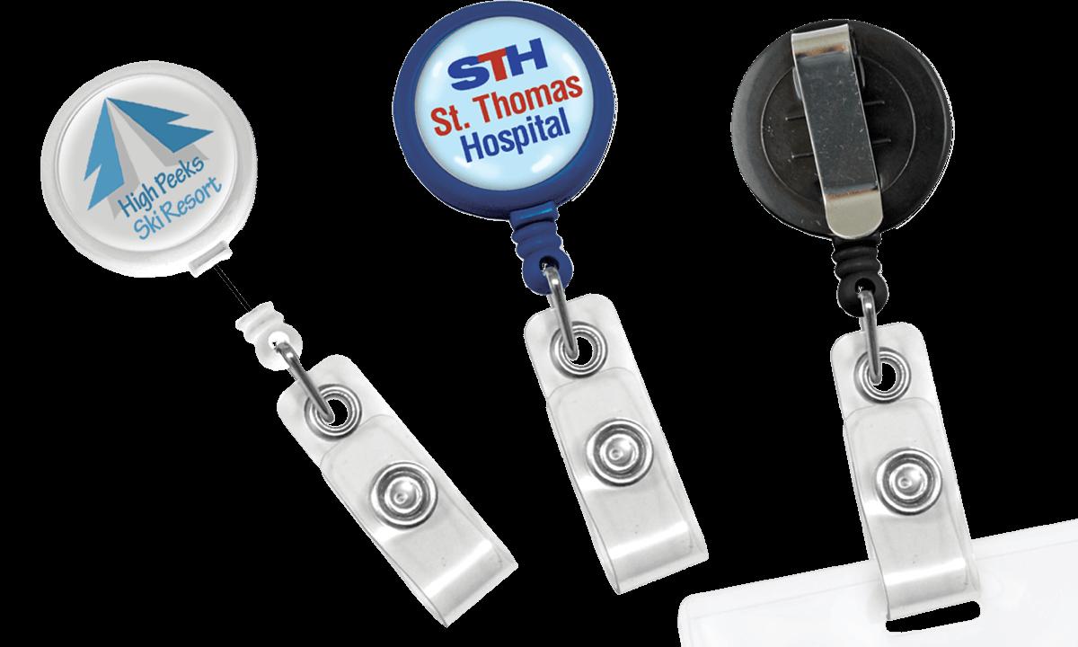 Portabadge avvolgibile rotondo Maxlabel personalizzabile