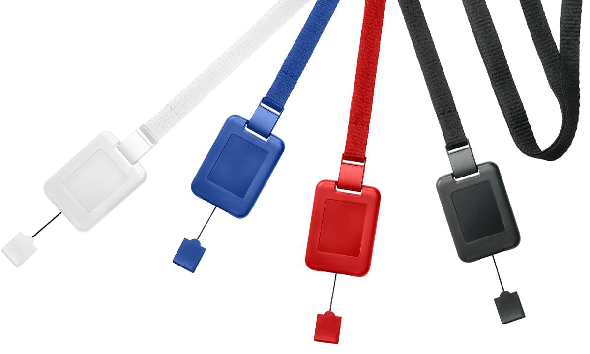 Laccetti porta badge piatti da 10mm con clip di sicurezza e sistema SlimReel