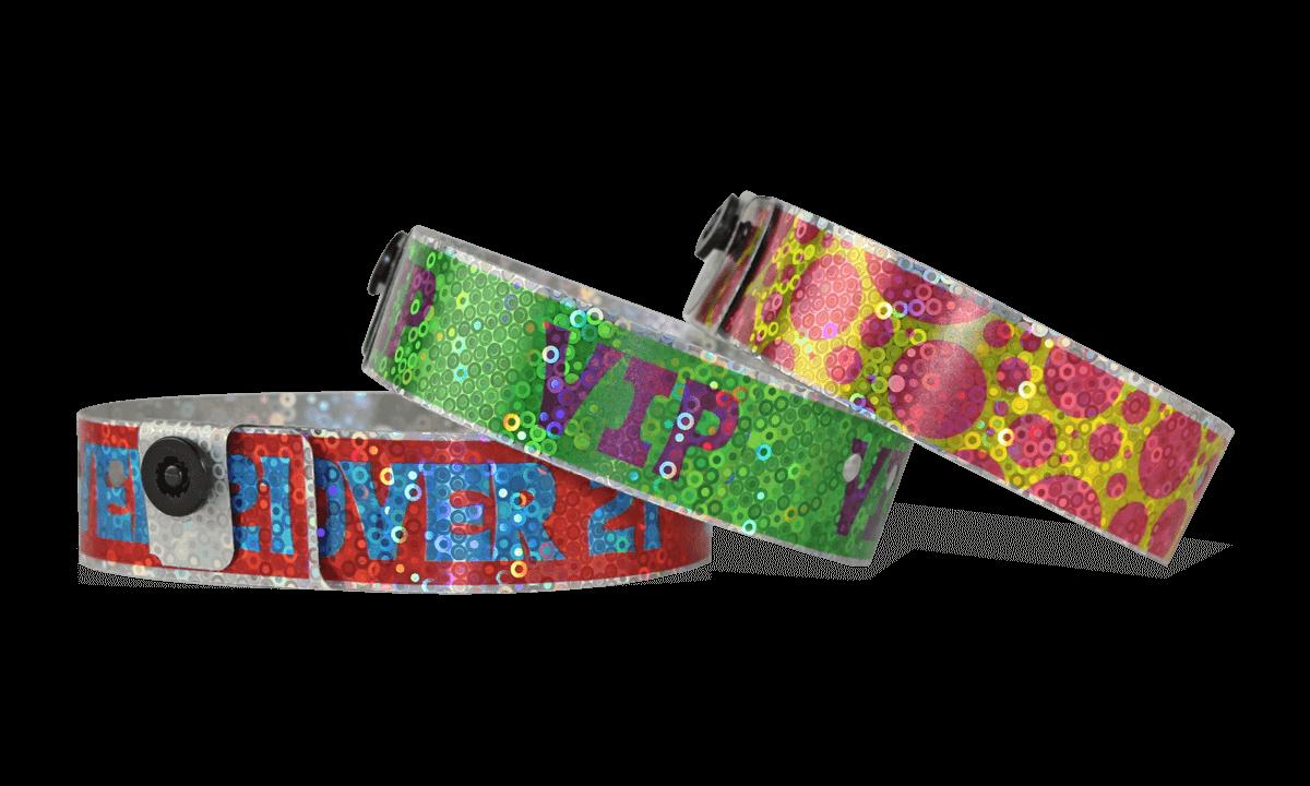 """Braccialetti olografici personalizzabili con stampa fotografica 19 mm effetto """"liquid glitter"""""""