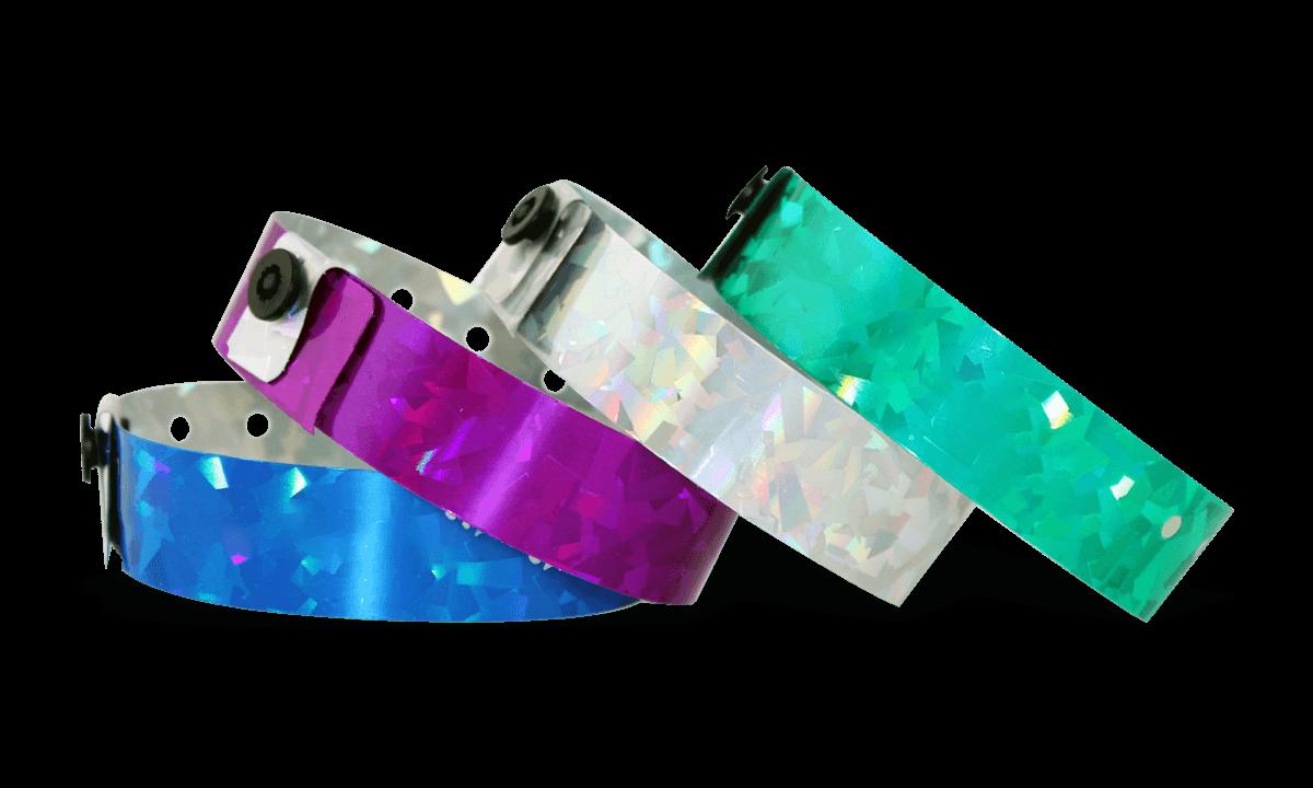 """Braccialetti olografici senza personalizzazione 19 mm effetto """"confetti"""""""