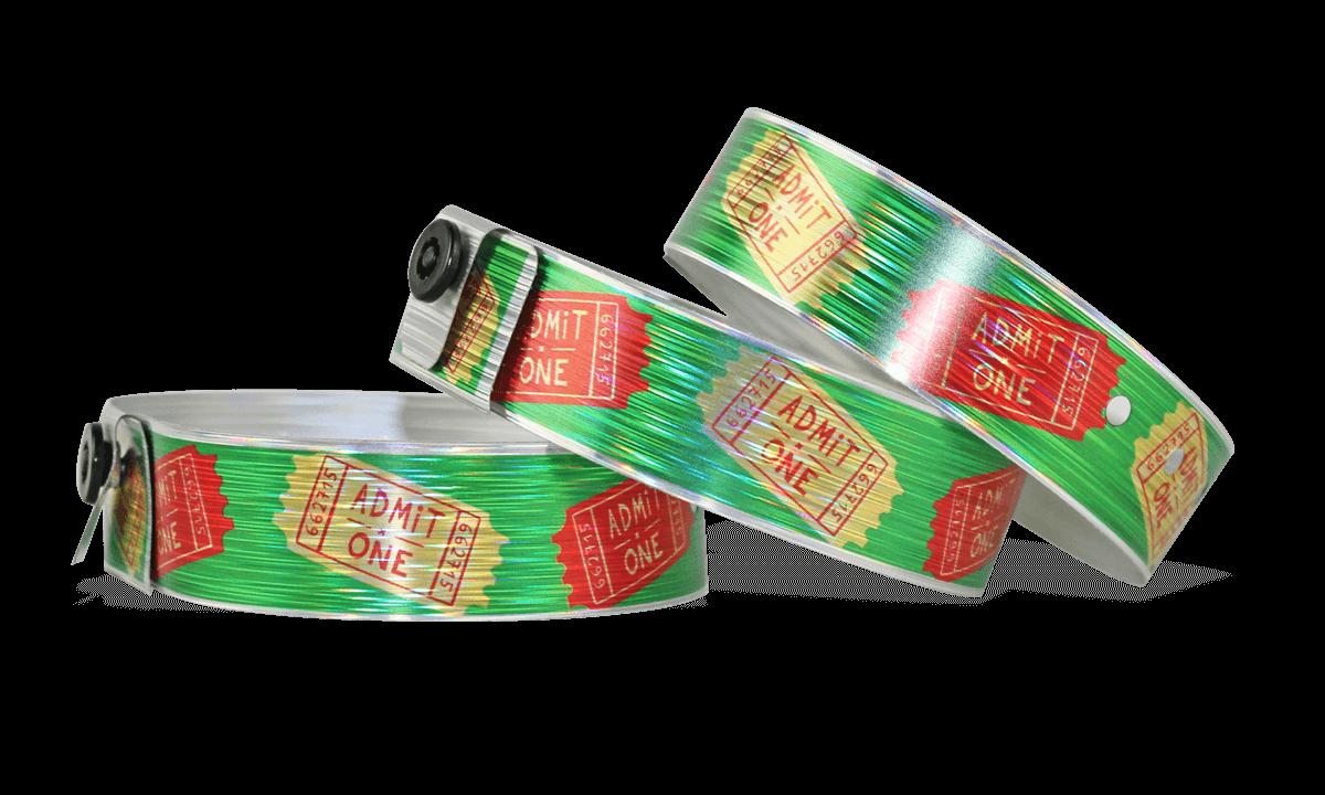"""Braccialetti olografici personalizzabili con stampa fotografica 19 mm effetto """"rain"""""""