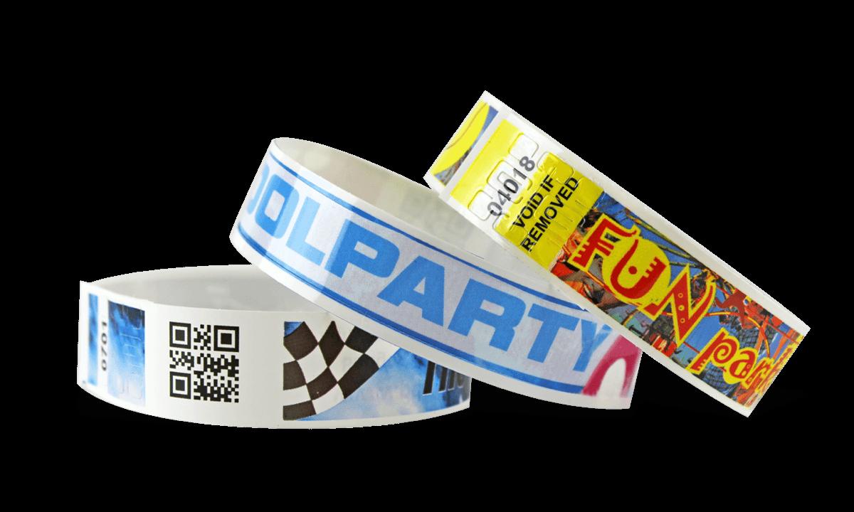 Braccialetti in plastica personalizzabili con codici a barre e stampa fotografica NVS 19mm (finitura lucida)