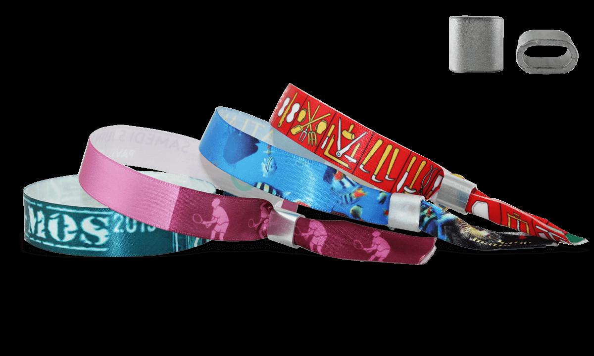 Braccialetti in tessuto Effetto Raso personalizzabili, chiusura piatta in metallo Honolulu