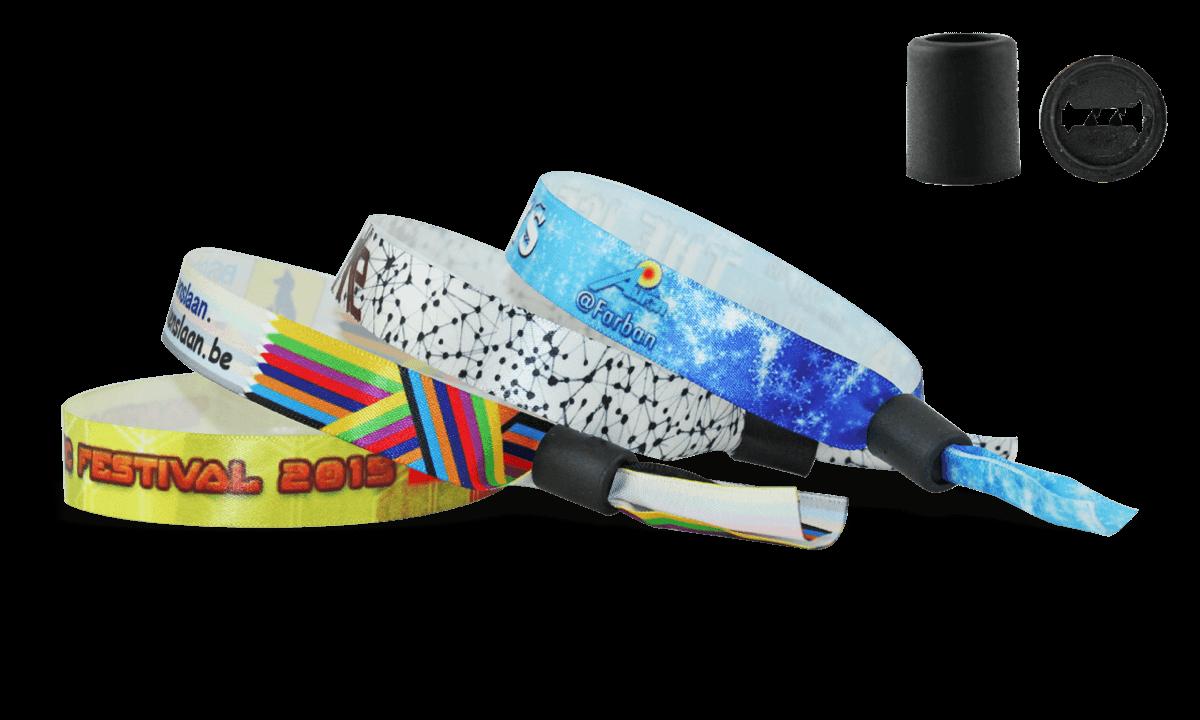 Braccialetti in tessuto Effetto Raso personalizzabili, chiusura a cilindro scorrevole in plastica Woodstock
