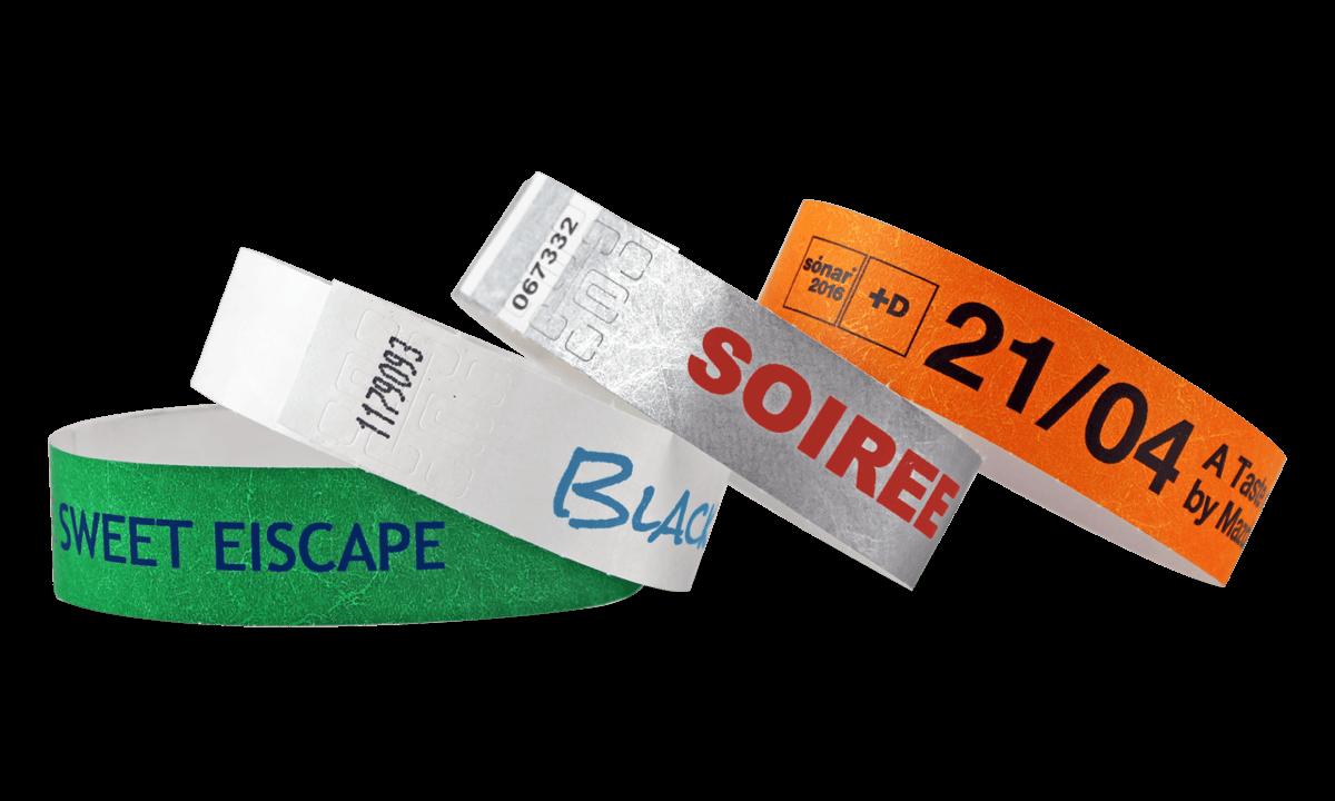 Braccialetti in Tyvek personalizzabili con stampa a un colore 19 mm