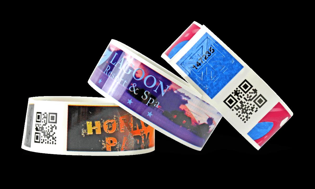 Braccialetti in plastica personalizzabili con codici a barre e stampa fotografica TVS 25mm (finitura lucida)
