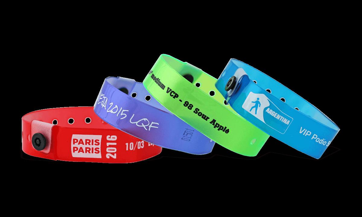 Braccialetti in vinile traslucido personalizzabili, 19 mm
