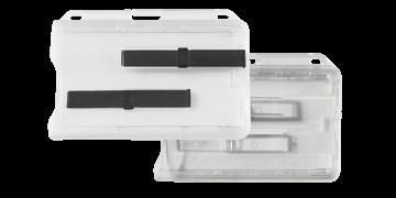 Portabadge Premium orizzontale rigido per due carte/tessere con dispositivo di scorrimento