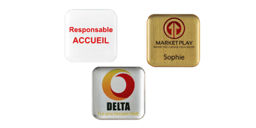 Badge nominativo Impress premium, 32x32 mm