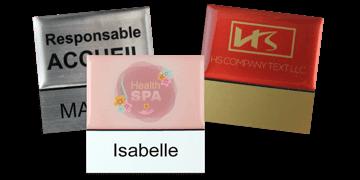 Targhetta portanome Premium 50 x 50 mm, riutilizzabile con etichetta adesiva da 18 mm