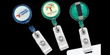 Portabadge avvolgibile rotondo Maxlabel traslucido personalizzabile