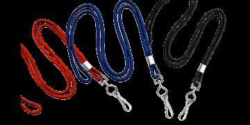 Laccetti porta-badge rotondi di 3mm con gancio metallico girevole