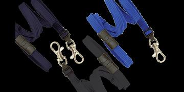 Laccetti porta-badge tubolari di 10mm con gancio a scatto e clip di sicurezza
