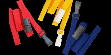 Laccetti porta-badge tubolari di 10mm con gancio in plastica e clip di sicurezza