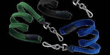 Laccetti porta-badge tubolari di 10mm con gancio metallico girevole e clip di sicurezza