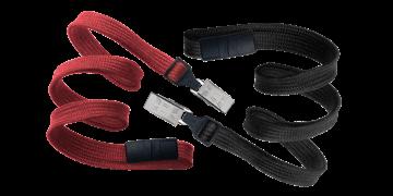 Laccetti porta-badge tubolari di 10mm con fermaglio e clip di sicurezza