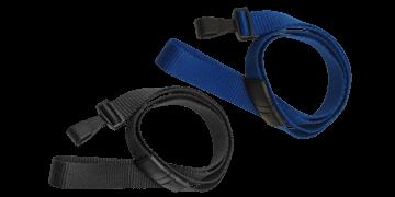 Laccetti porta-badge piatti di 16mm con gancio di plastica e clip di sicurezza