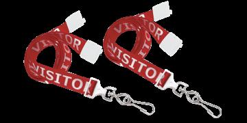 Laccetti porta-badge in satin pre-stampati di 16mm con gancio metallico girevole e clip di sicurezza
