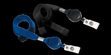 Laccetti porta-badge tubolari di 16mm con clip di sicurezza e porta-badge avvolgibile