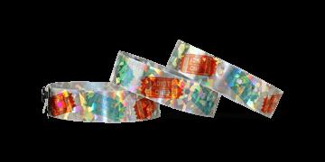 """Braccialetti olografici personalizzabili con stampa fotografica 19 mm effetto """"confetti"""""""