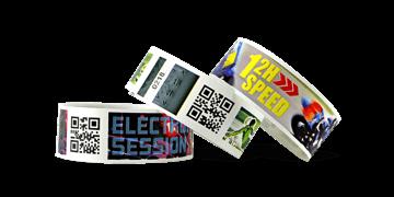 Braccialetti in plastica personalizzabili con codici a barre e stampa fotografica TPS 25mm (finitura opaca)