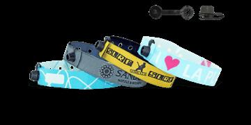 Braccialetti in tessuto Ricamato personalizzabili, chiusura rotonda a clip in plastica Nice
