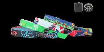 Braccialetti in tessuto Ricamato personalizzabili, chiusura a cilindro scorrevole in plastica Oslo