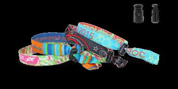 Braccialetti in tessuto Ricamato personalizzabili, chiusura riutilizzabile in plastica Venice